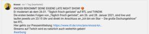Jens Knossi Knossella moderiert eine Late Night Show